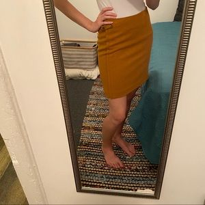 Mustard yellow wool blend skirt